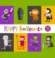 set of halloween cartoon characters vector image vector image