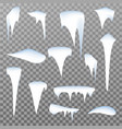 set snow icicles isolated on transparent vector image