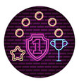 shield number one trophy neon video game wall vector image