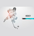 silhouette a hockey player from particles vector image vector image