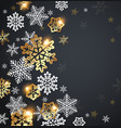 snowflakes on a black background vector image vector image
