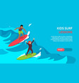 surfing kids isometric banner vector image vector image