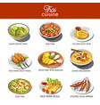 Thai cuisine food and traditional dishes vector image