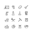 Thin line style cleaning icons vector image
