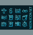 traveling set icons blue glowing neon style vector image