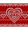 Valentines day red knitted seamless pattern vector image vector image