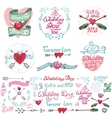 Wedding doodle decor elements setRomantic labels vector image vector image