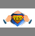 yes sign superhero open shirt with shield vector image vector image