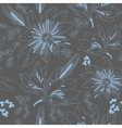 Seamless dark grey pattern with flowers lily vector image