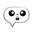 figure chocked chat bubble kawaii cartoon vector image