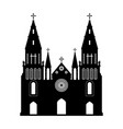 black silhouette of gothic church vector image vector image