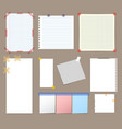 blank note paper with sticky colorful tape set vector image