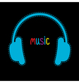 Blue headphones with dash line and word Music vector image