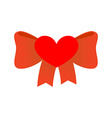 Bow love Red Ribbon with knot of love Symbol of vector image