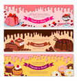 cake dessert and ice cream banner set design vector image vector image