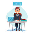 cartoon manager in credit office workplace vector image vector image