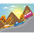 Cartoon mountain ride background vector image vector image