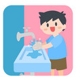 children little boy washing hands with soap vector image
