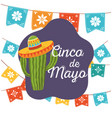 cinco de mayo cactus with hat pennatns flowers vector image vector image