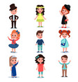collection of cute kids characters dressed up in vector image vector image