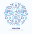 contact us concept in circle vector image vector image