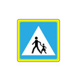 crosswalk sign black in white triangle vector image vector image