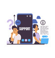 customer support online service for help users vector image
