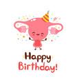 cute funny uterus organ happy birthday card vector image vector image