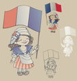 cute smiling cartoon girl in sans culottes costum vector image vector image
