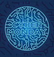 cyber monday on blue electrical circuit background vector image vector image