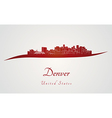 Denver skyline in red vector image vector image