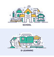 education and studying linear banner templates set vector image