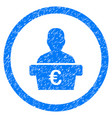 euro politician rounded icon rubber stamp vector image