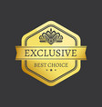 exclusive best choice premium quality golden label vector image