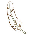 feather drawing on white background vector image vector image