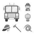 fire department monochrome icons in set collection vector image vector image