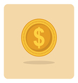 flat icon dollar coin vector image vector image