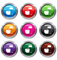 glass of drink and apple set 9 collection vector image