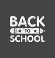 grunge back to school sign logo with pencil vector image vector image