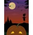 Halloween landscape with pumpkin vector image vector image
