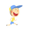 happy smiling cartoon boy running kids outdoor vector image vector image