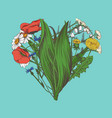 heart made of hand-drawn flowers and herbs vector image