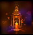 Illuminated lamp on Eid Mubarak Happy Eid vector image vector image