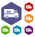mail truck icons set hexagon vector image vector image