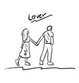 man and woman holding and walking together vector image vector image