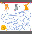 maze game with kitten characters vector image vector image