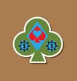 paper sticker on stylish background poker logo vector image vector image