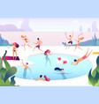 people at swimming pool persons swim dive in vector image