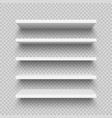 realistic white wall shelf collection on checkered vector image vector image