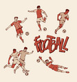 retro football player and goalkeeper in sports vector image